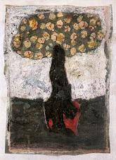 Jean-Pierre Pincemin, Sans titre, technique mixte sur papier marouflé, 2000