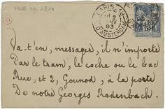 Adresse manuscrite autographe en vers, à Georges Rodenbach